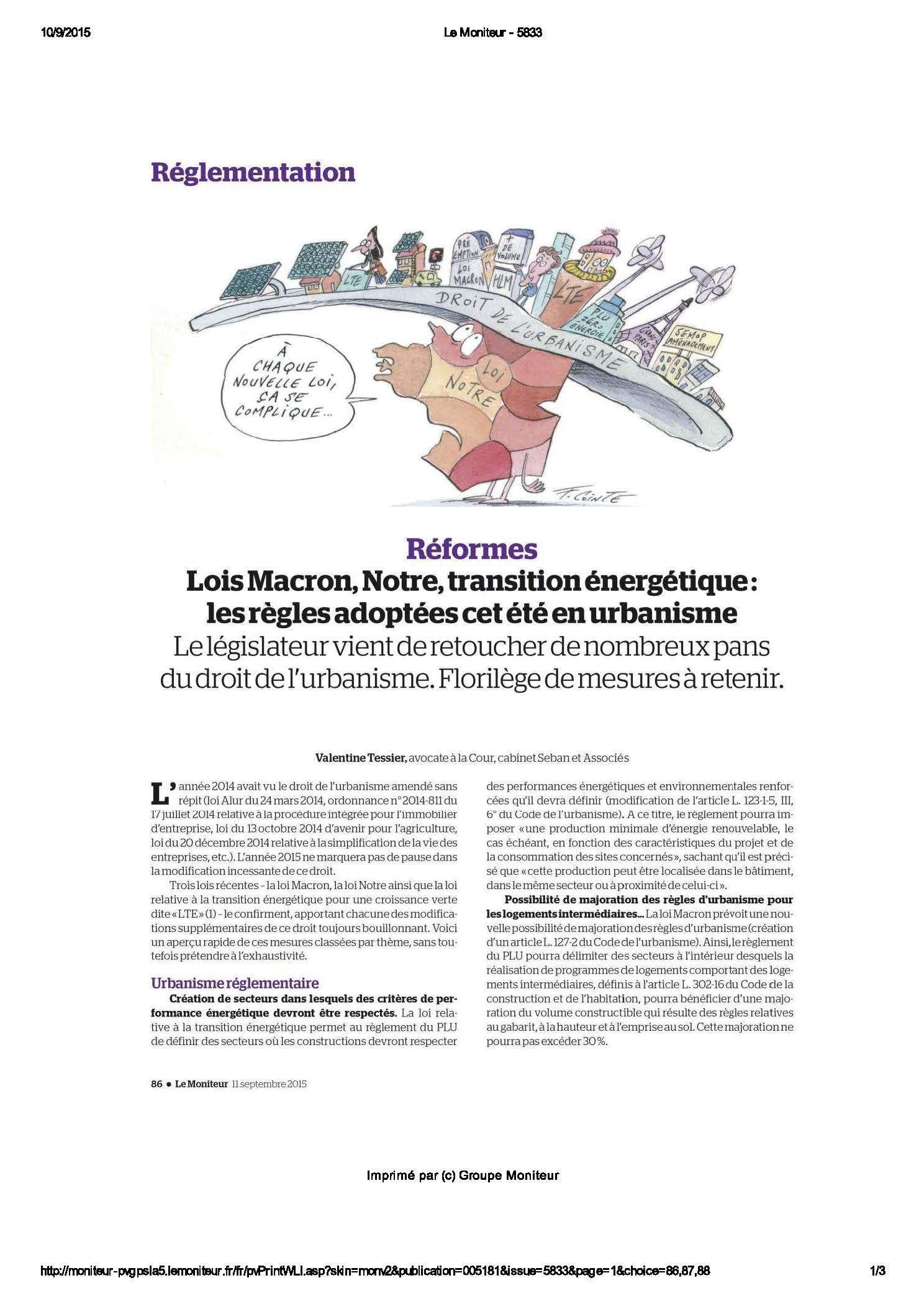 Réformes : Lois Macron, Notre, transition énergétique : les règles adoptées