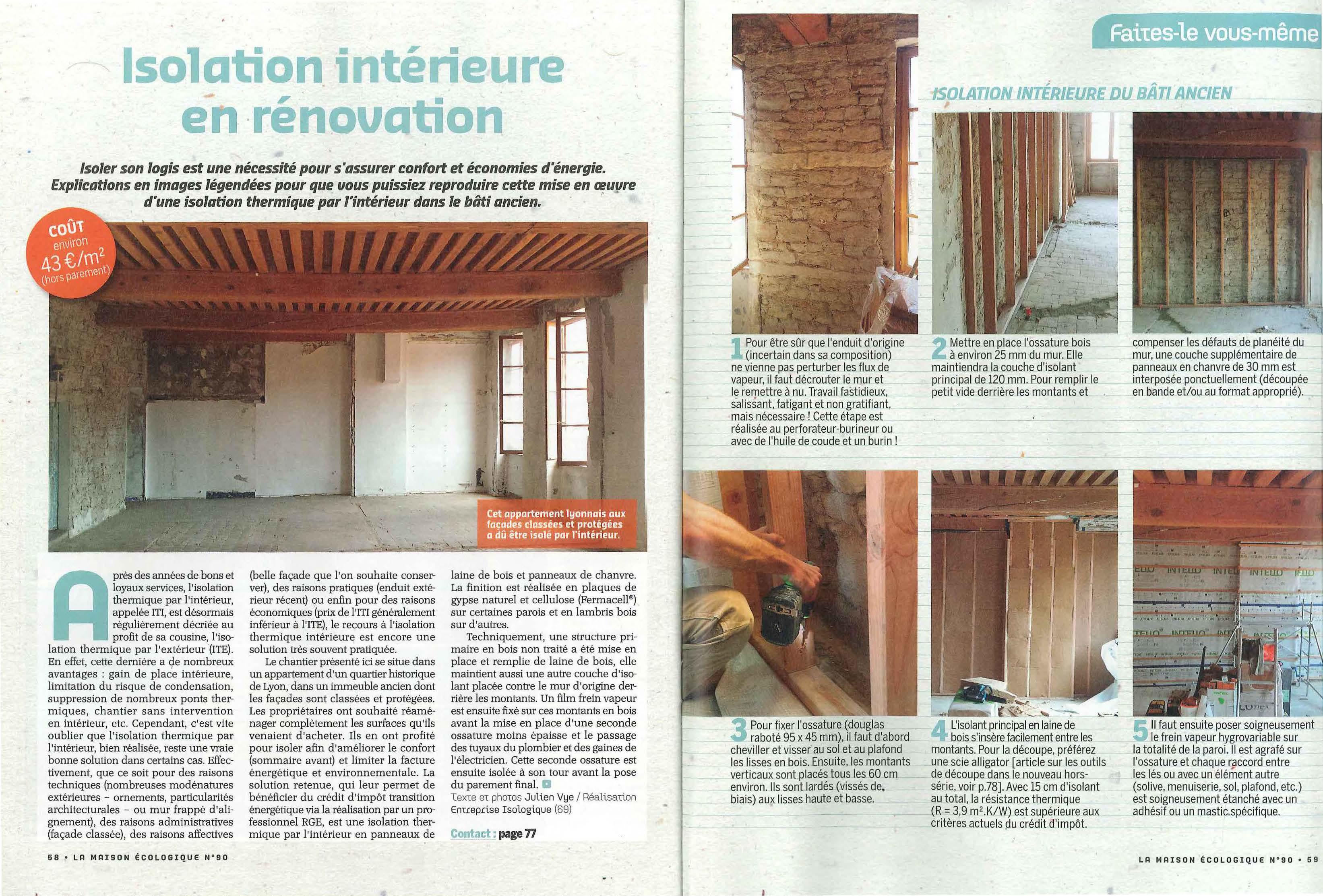 Isolation intérieure en rénovation